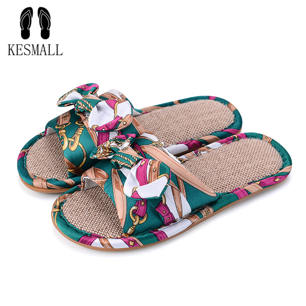 KESMALL Flax Home Slippers Women' Flat Slippers Linen Indoor Floor Bow Shoes Cross Belt Silent Sweat Slippers For Women Slippers concise platform and bow design slippers for women