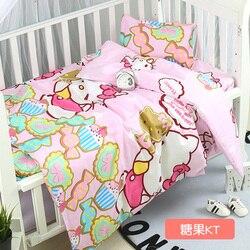 Neu Kommen Cartoon Neugeborenen Baby Bettwäsche Set Für Mädchen Junge Baby Krippe Bettwäsche Set Infant Decke, duvet/Blatt/Kissen, mit füllung