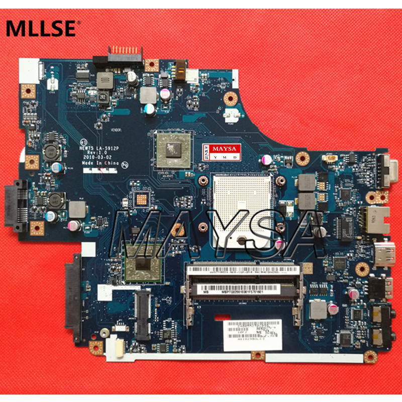 Laptop Motherboard Fit for ACER Aspire 5551 5551G MBPTQ02001 (MB.PTQ02.001) NEW75 LA-5912P DDR3 Mainboard free shipping brand new da0zrjmb8c0 mainboard for acer travelmate tm5760 5760 tm5760z laptop motherboard mbv4206001