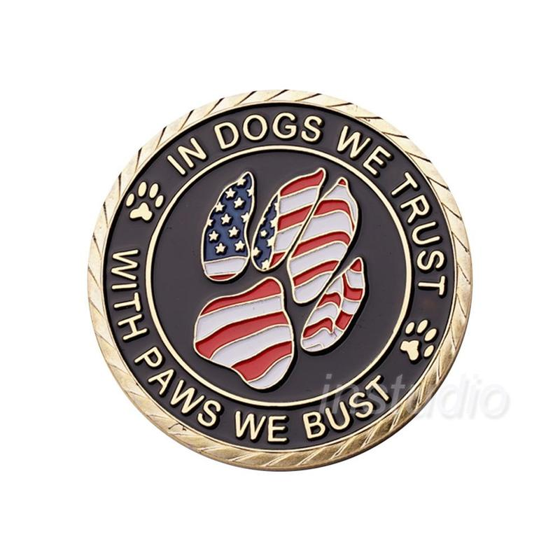 US $3 18 |Souvenir Gift Working Dog K9 Police In Gogs We Trust Handler  Military and Police Challenge Coin for Collect-in Non-currency Coins from  Home