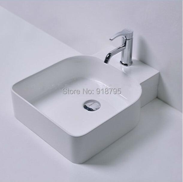 Rectangular bathroom solid surface stone counter top Vessel sink fashionable Corian washbasin RS38177 550