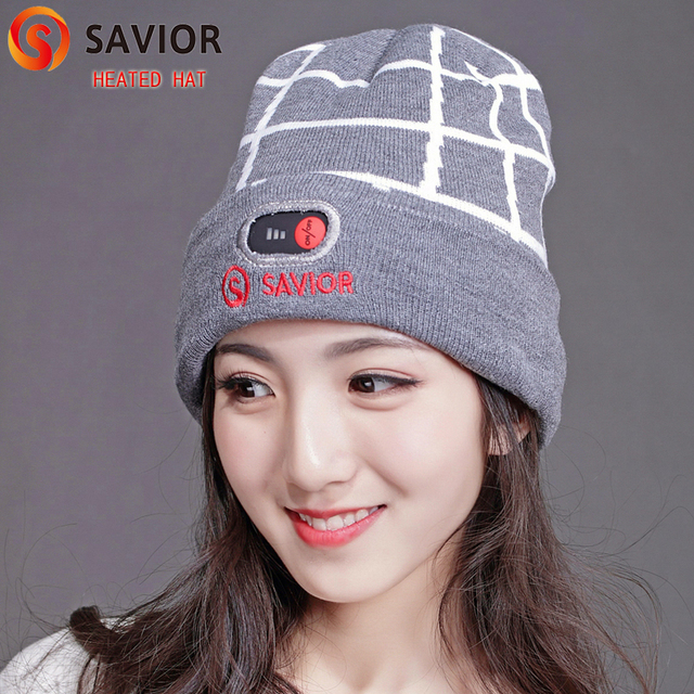 Savior heated hat heat therapy caps keep head warm protect head thick fleece knitting material carbon fiber heating elements New