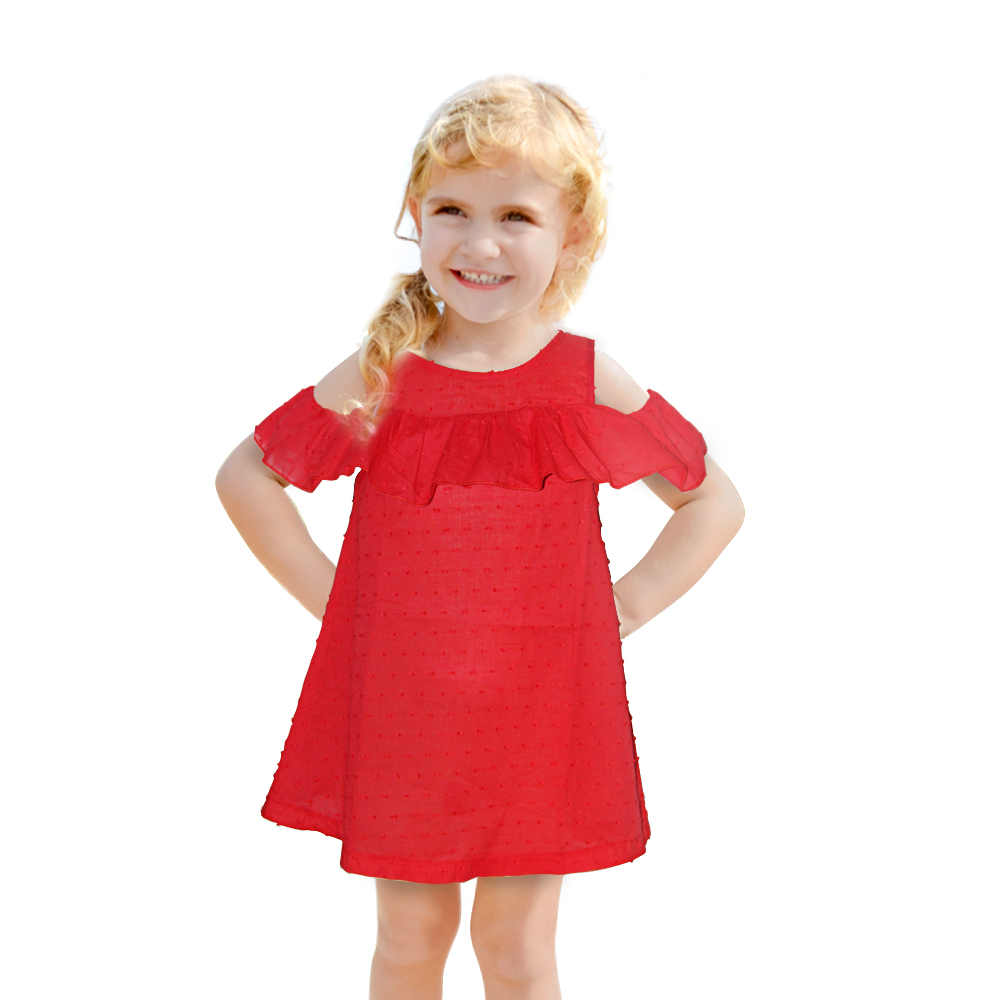 Red Off-shoulder Girl Dress Tiny Cotton Girl's Dresses Ruffles Baby Girl Summer Clothes Summer Party Princess Beach Girl Dress unini yun 2 7t girl dress baby kids summer flower cherry backless sundress girl cotton sleeveless princess beach casual dresses