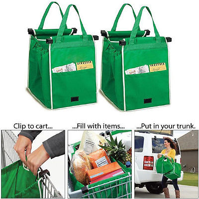 Vikbar tyghandväska Återanvändbara stora förvaringsväskor Vagn Clip-to-Cart Livsmedels Shoppingväskor