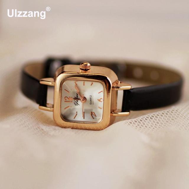 0e53da9e842 Clássico Quadrado Bonito Rose Gold Couro Quartz Relógio de Pulso Horas para  As Mulheres Senhoras Feminino