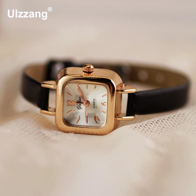 Classic Pretty Square Rose Gold Leather Quartz Wristwatches Watch Hours For Women Ladies Female Black White Pink