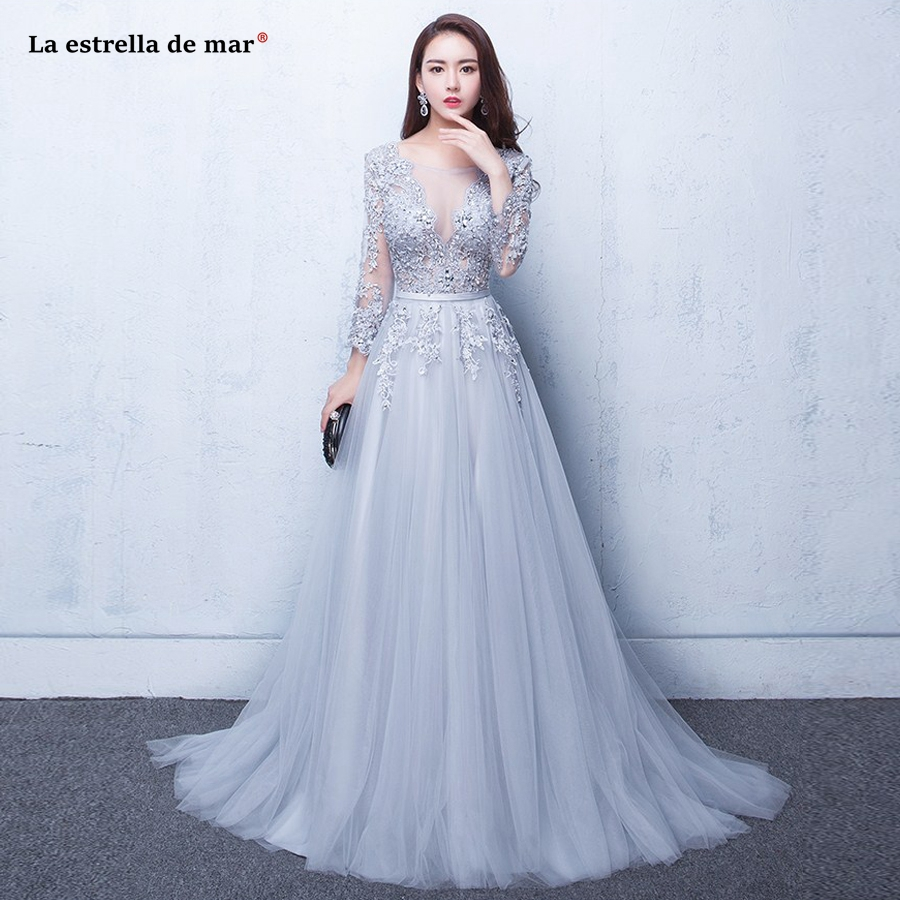 Vestido boda mujer invitada2019 new newScoop lace crystal long sleeve a Line silver burgundy blush   bridesmaid     dresses   long weddi