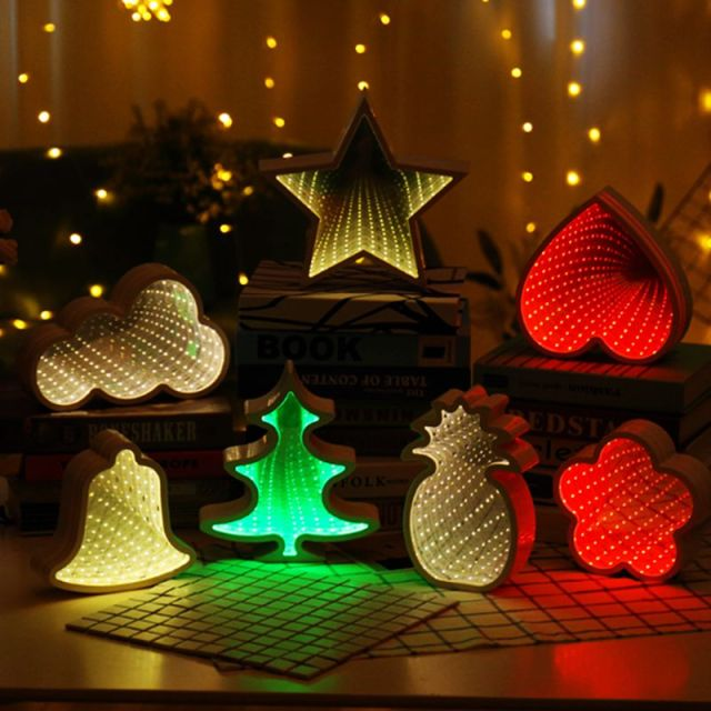 Novelty Stars Cloud Christmas Tree Night Light Infinity Mirror Tunnel Lamp Creative Led For Kids Baby Toy Gift