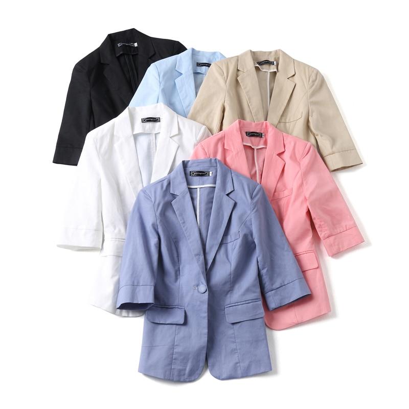 Summer Women's Linen Blazers Suit Jacket Cotton And Linen Blazer New Fashion Ladies Solid Color Slim Suit Casual Women's Jacket