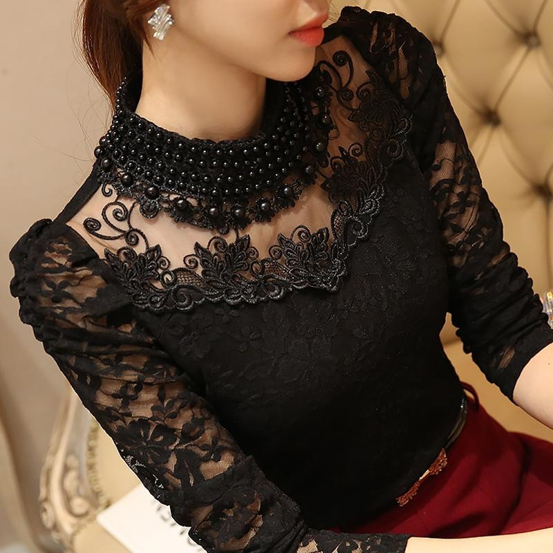 Women Sexy Lace Blouse new Slim Plus size 3XL Lace Tops Long Sleeve Casual Shirt Beaded Openwork Feminine Tops