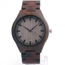 BOBO de AVES Del Relogio Reloj de Madera De Ébano Madera C30 Banda Relojes de Cuarzo Reloj de la Marca de Diseño de Estilo Casual Reloj Para Regalo de Los Hombres Aceptar OEM