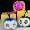 Trendy Little Monster Bag Charm Fur Pom Poms Keychains Luxury Car keychains Pendant fend fur Bird monster Free Ship with logo