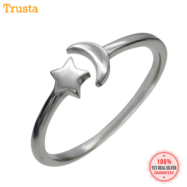 Trusta Women 925 Sterling Silver Fashion Jewelry Star Moon Cocktail Ring Sizable