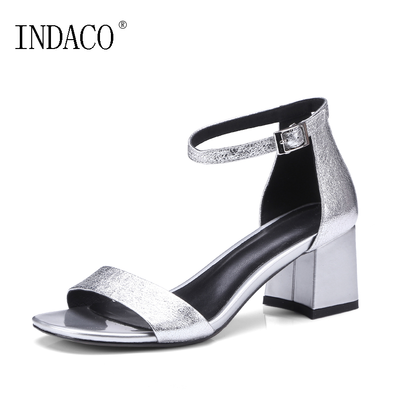 Thick High Heel Ankle Strap Sandals Women Summer Shoes 2018 New Silver Pink Leather Footwear 6CM Sandales Femme