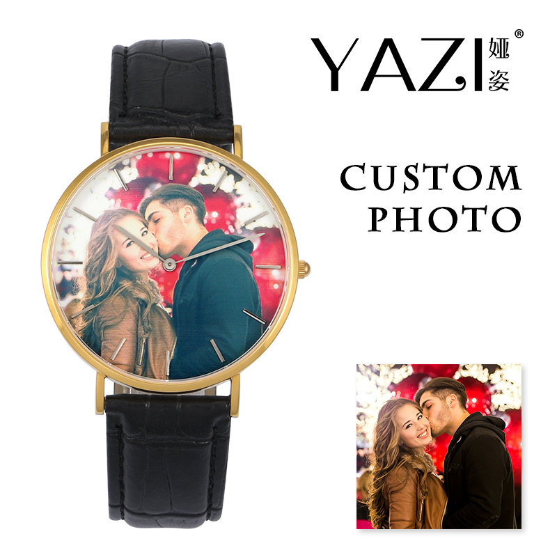 YAZI Unique Design Custom Watch Photo Lovers Gift Couple Watch Lucky Logo Print In Dial Wrist Watch For Men And Women's Souvenir