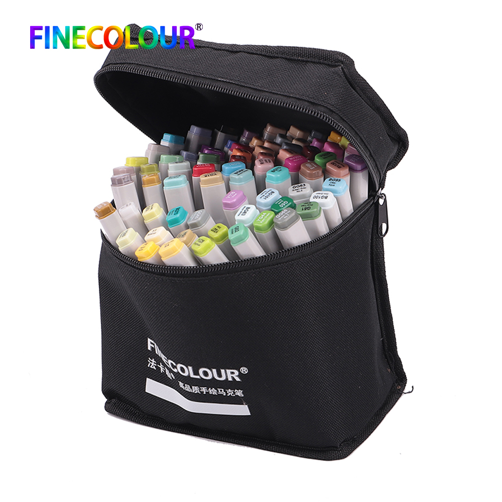 Finecolour 24/36/48/60/72 Colors Permanent Alcohol Art Markers Drawing Pen Set Manga Double Headed Art Sketch Paint Marker Pens 36 48 60 72 marker colors set double headed marker pen paint art sketch darwing copic marker pens in high quality