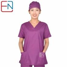 Hennar women scrub uniforms V neck short sleeve  women medical uniforms in T/C anti-wrinkle Resistance to chlorine