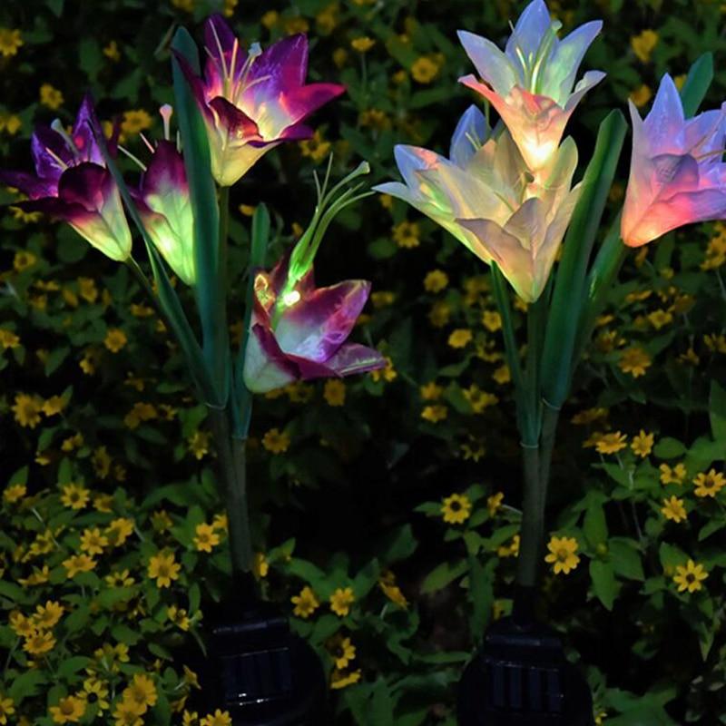 Solar Lights For Garden Decoration LED Solar Lamp Colorful Lily Flower Christmas Outdoor Lighting Waterproof Solar Light (9)