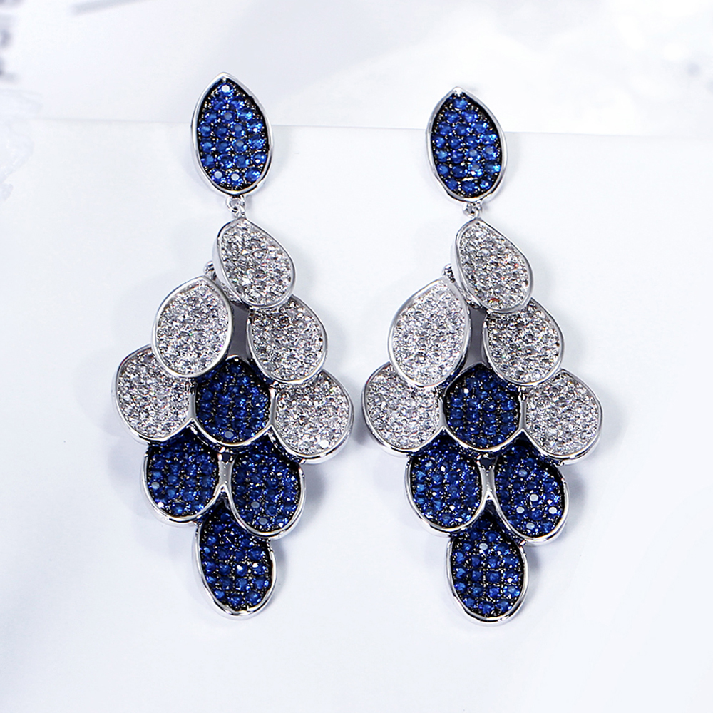 Women All Seasons Luxury Color Drop Earrings White Color Blue/Green/Siam Cubic Zirconia Large Earring Bridal Wedding Jewelry jewelry for all seasons