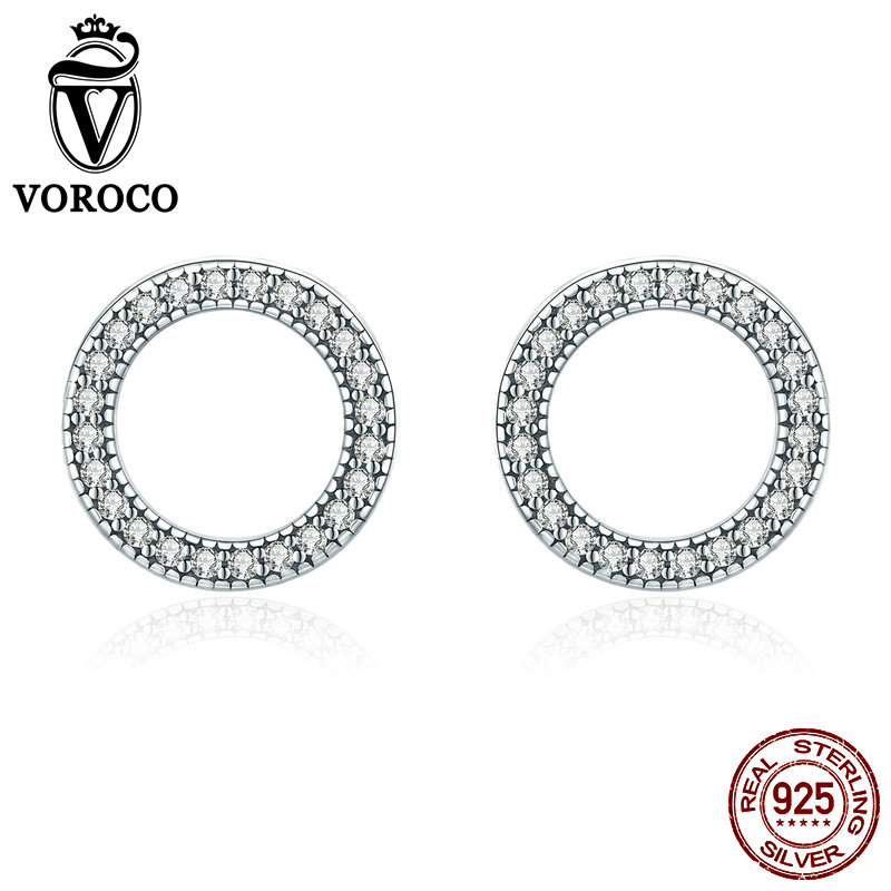 VOROCO Authentic 925 Sterling Silver Glitter Round Circle Stud Earrings For Woman Cubic Zircon Fine Jewelry Wedding Gift BKE417