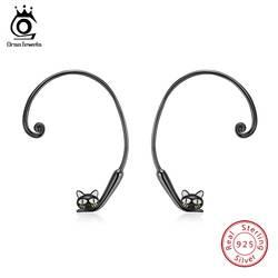 ORSA JEWELS Реальные серебро 925 серьги для Для женщин Симпатичные Черный кот Форма большой Стад орать стерлингов Серебряные ювелирные изделия