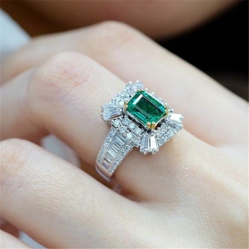 14K Gold Emerald Princess 2 Carats Diamond Engagement Ring Green Square Topaz 925 Silver Rings Bizuteria Gemstone Ring For Women