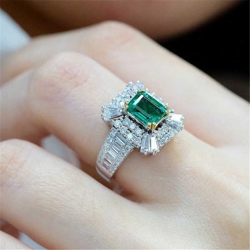 14K Gold Emerald Princess แหวนหมั้นเพชรสีเขียว Zirconium สแควร์ Topaz Sterling แหวนเงิน Diamante Bizuteria อัญมณี
