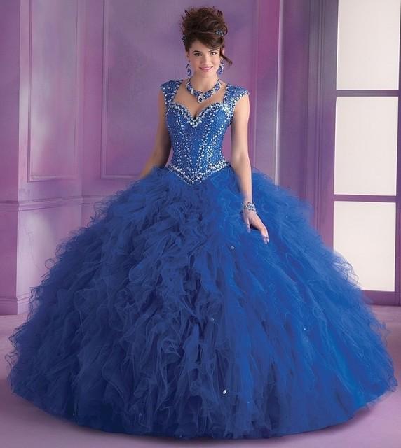 Vestido De 15 Años Debutante Masquerade azul Royal Vestidos de Baile Querida Pavimento Comprimento Vestidos Quinceanera Turquesa