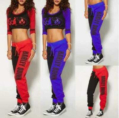 Suicide Squad Harley Quinn Ladies Tops Joggers Pant Trousers Sport Gym Pants Tracksuit Cosplay Costumes Hoodies Jacket knickers