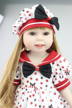 """2016 NEW  18"""" Blond Hair 45cm Girl Doll Realistic Baby Toys Birthday Gift for Girls  American princess  Dolls"""