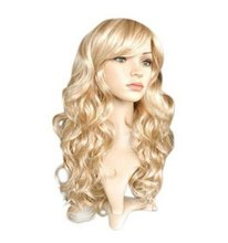 QQXCAIW Long Curly Women Ladies Party Natrual Blonde 65 Cm Syntetiska Hårperor