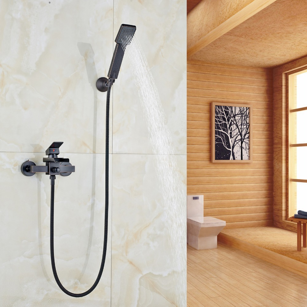 Oil Rubbed Bronze Finished Wall Mounted Bathroom Shower Faucet With Waterfall Spout Bathtub Tap