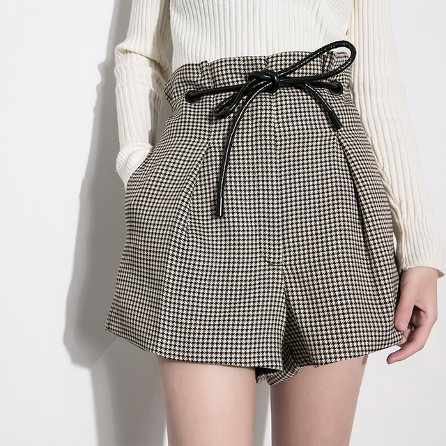 New Women Plaids Short pants High Waist Adjustable belt Waist Grey Regular Wide leg Pant Short Skirts
