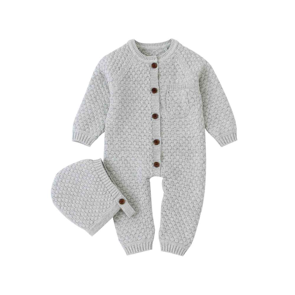 Baby Girls   Rompers   Long Sleeve Jumpsuits Outfits Autumn Winter Newborn Boys One Pieces Overall Grey Toddler Kids Knitted Clothes