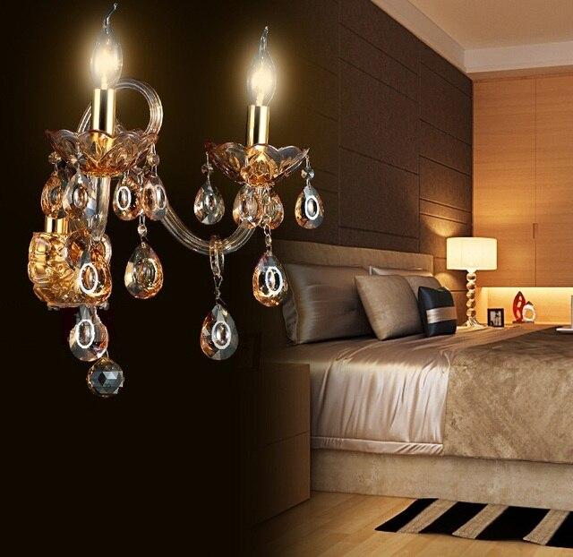 Moderne mode muur lampen kristal k9 luxe bed woonkamer kaars ...