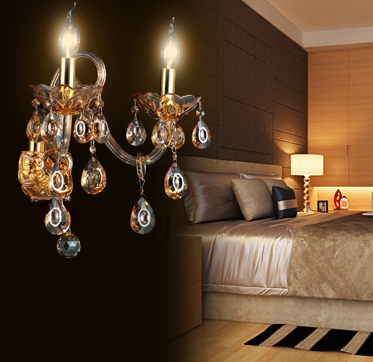 ФОТО modern fashion Wall Lamps crystal K9 Luxury Bed room Living room  candle crystal wall lamp aisle lights  wall lights