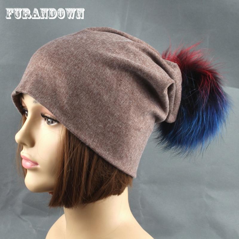 2019 nový podzimní klobouk módní skutečné kožešiny Pompom Beanie zimní čepice pro ženy příležitostné 100% bavlna Kulichy barevné čepice Pompon