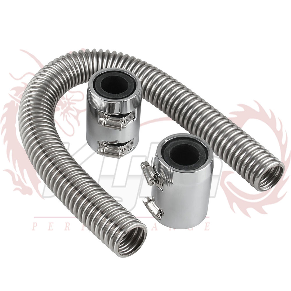 Gxcdizx 24 Stainless Steel Radiator Flexible Coolant Water Hose Kit with Caps Universal