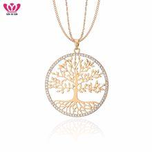 Yggdrasil – pendentif arbre de vie rond en cristal pour femmes, chaîne longue, couleur or, plante, bijoux à la mode, vente en gros