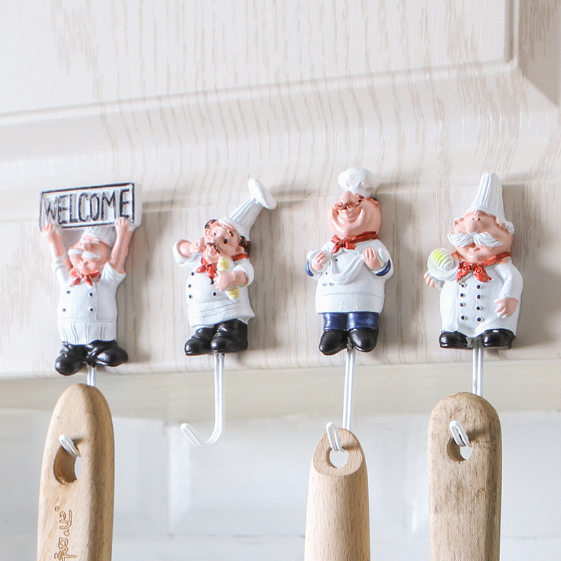 Creative Cartoon Chef Shape Stainless Steel Hooks Wall Door Clothes Coat Hat Hanger Kitchen Rustproof Towel Hooks JJJRY480