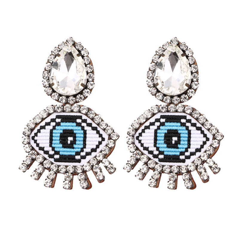 Fashion Cute Funny Eyes Crystal Clip Earrings Women Statement Anime Real Leather Trendy Big Night Club Earrings Brincos