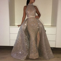 Muslim Mermaid Evening Dresses Turkish Arabic Dubai Bling Unique Fabric Evening Gowns Dress For Weddings Kaftan Glitter 2017 New