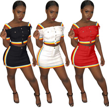 W8157  ribbon buttocks and leisure skirt two sets  two piece dress women 2 piece set  sexy two piece  women two piece outfits two piece outfits