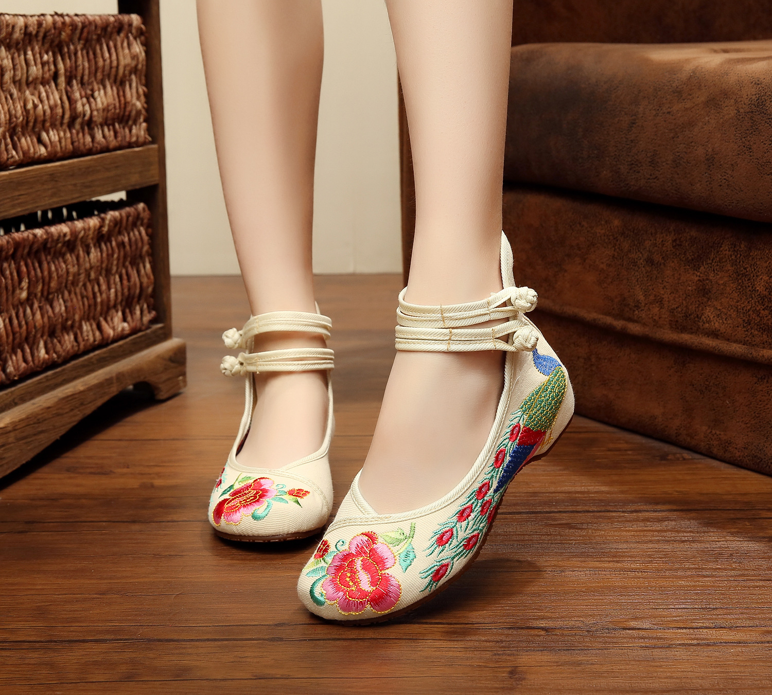 29 Colors Fashion Women's Shoes Old Peking Mary Jane Flat Heel Denim Flats with Embroidery Soft Sole Casual Shoes Plus Size 41