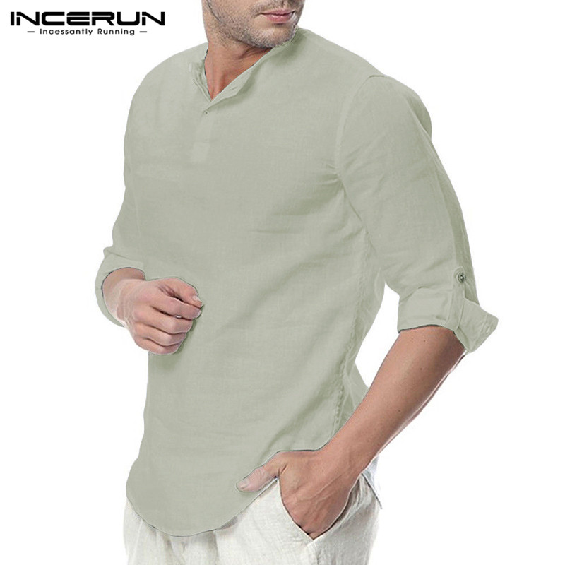 HTB1 T.OaeH2gK0jSZJnq6yT1FXac - INCERUN Fashion Men Shirt Long Sleeve Cotton Solid Casual Basic Shirt Men Tops
