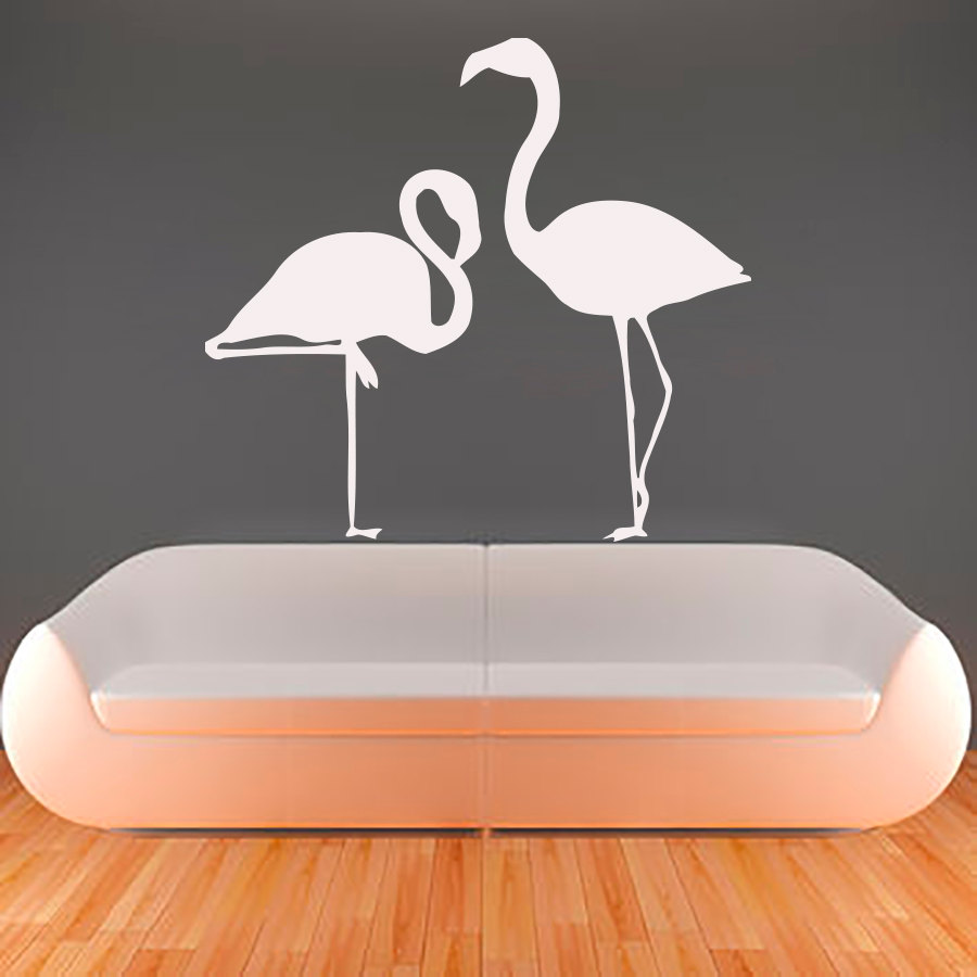 Flamingo wall decals vinyl removable living room art wall - Removable wall stickers living room ...
