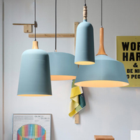 Nordic modern minimalist restaurant solid blue single pendant lamp creative dining table color matte iron lighting lamp