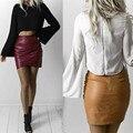 Nueva Falda de La Llegada Mujeres de Cuero Sintético Midi Faldas Lolita Saia Falda De Cuero Falda Lápiz de Color Sólido Ropa de Mujer SK227