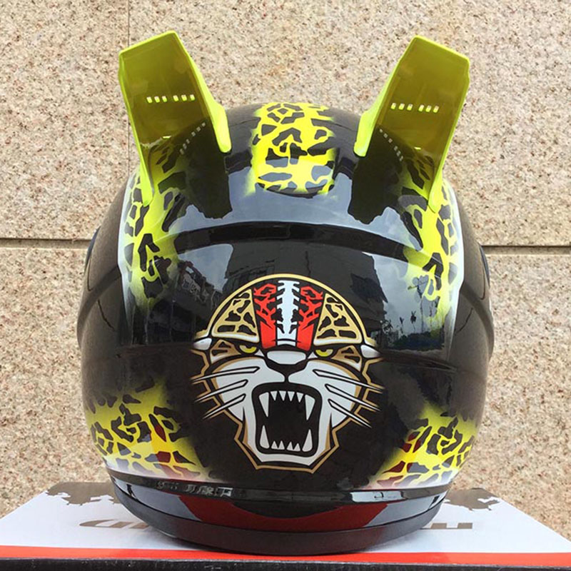 MALUSHUN motorcycle helmet yellow leopard print with horns maske bisiklet samurai helmet motorcycle ural white tank top with leopard minnie print leopard ruffles