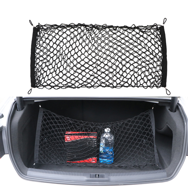 90x40cm Black Envelope Style Car Rear Trunk Mesh Bag with Hooks 4 Loops Double Layers Cargo Tiding Auto Net Storage Bag Pocket